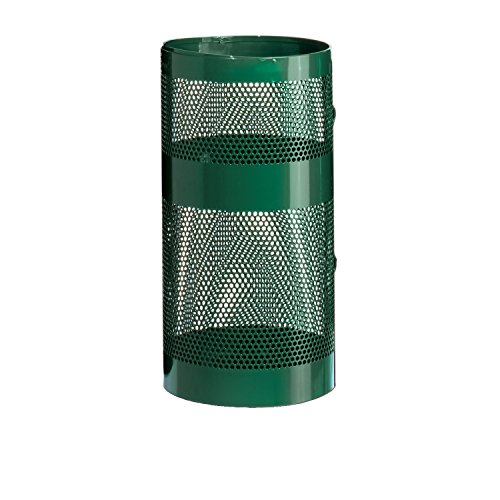 Rubbermaid Commercial Towne Series Perforated Steel Pole/Wall Mount Trash Can with Drain Holes, 22-Gallon, Empire Green