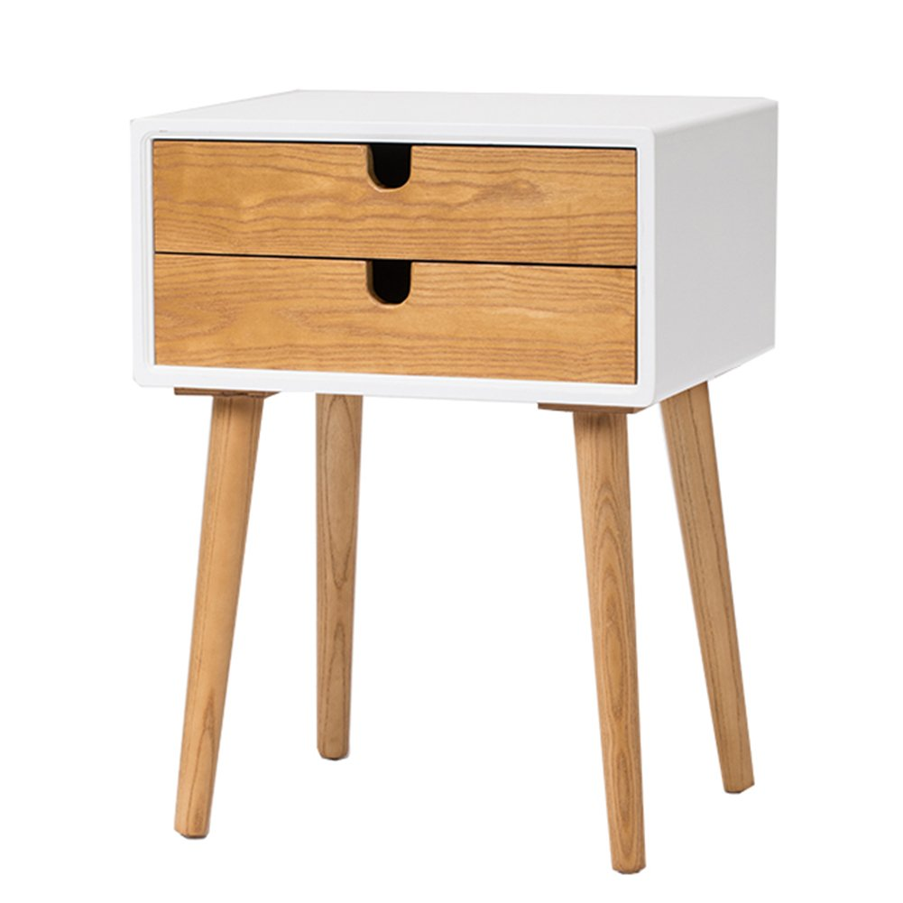 HAIPENG Wooden Small Sofa Side End Tables with Shelf Bedside Cabinet Corner Table Storage Creative (Color : White - double layer-50x40x68cm)