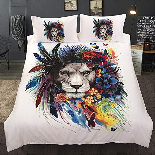 Onlyway 3pcs Duvet Cover Sets Various Halloween Animal 3D Print 100% Polyester Fiber Quilt Cover & Pillowcases (Lion, King Size:228264cm) by Onlyway
