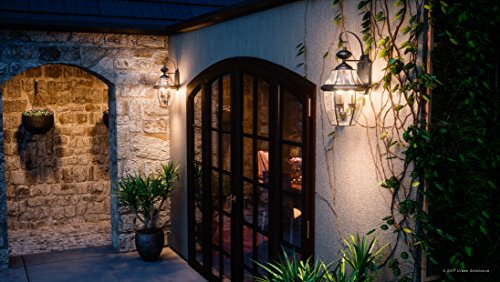 Luxury Colonial Outdoor Wall Light, Large Size: 22.5''H x 12.25''W, with Tudor Style Elements, Versatile Design, High-End Black Silk Finish and Beveled Glass, UQL1146 by Urban Ambiance by Urban Ambiance (Image #1)