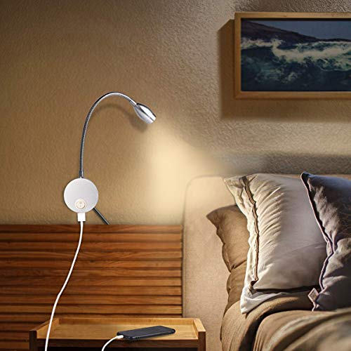 Reading Lamp with USB Charge Port, Wall Mounted Beside Lights LED Reading Lights for Books in Bed (3W, Warm White, 2 Pack)