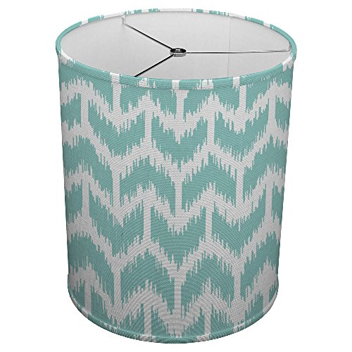 Hardback Linen Drum Cylinder Lamp Shade 8'' x 8'' x11'' Spider Construction [ Teal Furry Arrow ] by ArtLights