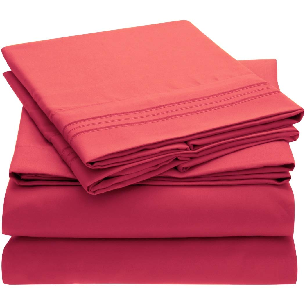 Mellanni Bed Sheet Set Brushed Microfiber 1800 Bedding - Wrinkle, Fade, Stain Resistant - Hypoallergenic - 4 Piece (Queen, Hot Pink)