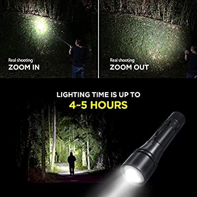Zpose Tactical LED Flashlight USB Rechargeable Handheld Bright, Rope, Belt Clip, Rotating Zoom, Hidden Strobe SOS(18650 Battery Included) IP67 waterproof,7 Modes For(Outdoor/Camping And Emergency Use)
