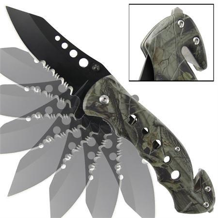 Emergency Mossy Oak Camo Tanto Serrated Spring Assist Knife, Outdoor Stuffs