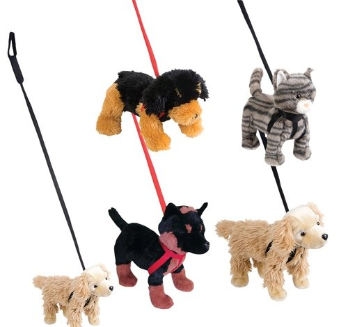 DollarItemDirect Assorted Pet with Leash Plush, Case of 12