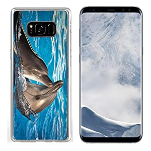 Liili Samsung Galaxy S8 plus Clear case Soft TPU Rubber Silicone Bumper Snap Cases IMAGE ID: 11036210 Pair of dolphins dancing in light blue water