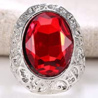jindarat Women 925 Silver Natural Huge 7.4CT Ruby Gemstone Ring Wedding Bridal Size 6-12 (8)