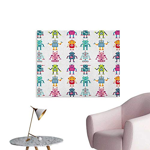 Anzhutwelve Nursery Wallpaper Colorful Cartoon Set of Robot Figures Futuristic Funny Mascots Friendly Androids Funny Poster Multicolor W48 xL32 ()