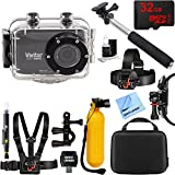 Vivitar HD Action Waterproof Camera / Camcorder Black + 32GB Outdoor Adventure Mounting Bundle