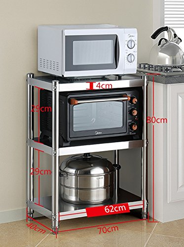 (Metal Bakers Coffee Rack Microwave Stand Adjustable Convection Oven Shelf 3 Tier Kitchen Hotel Restaurant Corner (Size : Width 40CM))