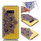 Galaxy S10e Case, for S10e 5.8'', MerKuyom Lightweight [Clear Crystal Transparent] Slim-Fit Flexible Gel Soft TPU Case Cover for Samsung Galaxy S10e 5.8-inch, W/Stylus (Blue Half Flower Pattern)