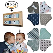 Baby Bandana Drool Bibs 8-Pack By Achee - 100% Organic Cotton Absorbent Drooling & Teething Bib Set - Baby Drool Bibs Set For Newborns & Infants - Unisex Designs For Boys & Girls Gift Pack