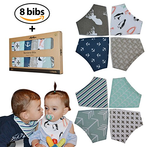 Baby Bandana Drool Bibs 8-Pack By Achee - 100% Organic Cotton Absorbent Drooling & Teething Bib Set - Baby Drool Bibs Set For Newborns & Infants - Unisex Designs For Boys & Girls Gift (Design A Bandana)