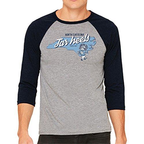 Original Retro Brand NCAA North Carolina Tar Heels Men's 3/4 Baseball Tee, Large, Heather/Carolina Blue