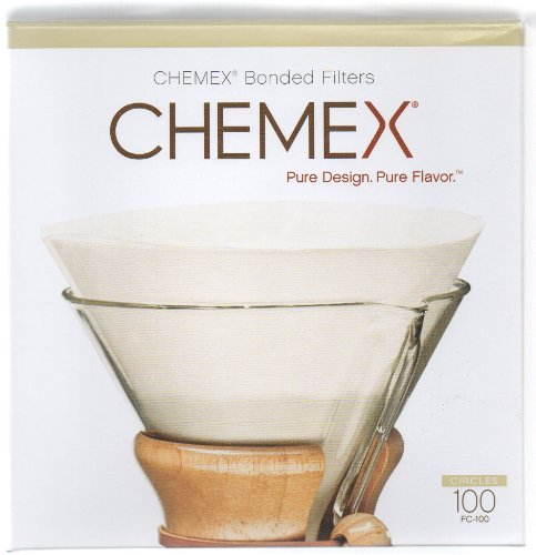 Chemex Coffee Filter Circles Cone Shape, Pre-Folded 100/Box