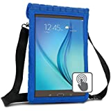 """10 Inch Tablet Case Holder Neoprene Sleeve Cover by USA Gear (Blue) Built-in Screen Protector & Carry Strap - Fits Samsung Galaxy Tab A 10.1, Insignia Flex 10.1, Acer ICONIA ONE 10, More 10"""" Tablets"""