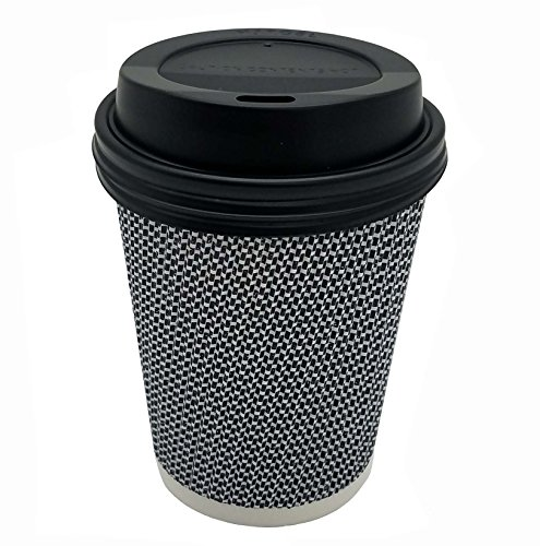([150 SET] 8 oz Disposable Double Walled Hot Cups with Lids - No Sleeves needed 8oz Premium Insulated Ripple Wall Hot Coffee Tea Chocolate Drinks Espresso Travel To Go Paper Cup and lid Black Geometric)