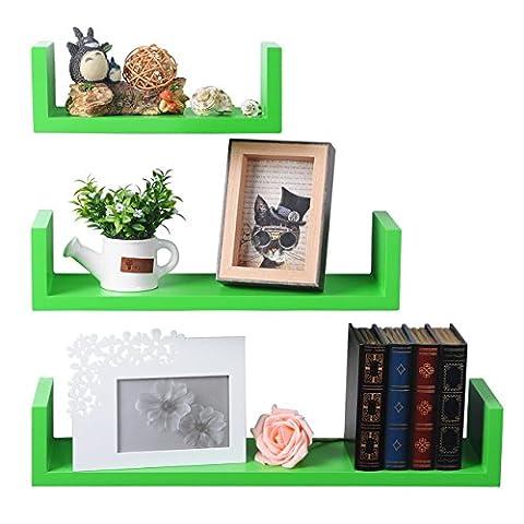 WOLTU Set of 3 Floating Nesting U Shelves Wall Mount Wood Shelves Display Storage Rack Ledge,Green, - Above Storage Bed Sets