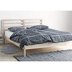 """Length: 77 1/2 """" Width: 56 3/4 """" Footboard height: 12 5/8 """" Headboard height: 37 3/8 """" Mattress length: 74 3/8 """" Mattress width: 53 1/8 """" Good to know Slatted bed base, mattress and bedding is sold separately. Slatted bed base, mattress and b..."""