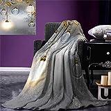 Anniutwo Industrial Travel Throw Blanket Steampunk Style Antique Composition Brass Fastening Round Figures Print Velvet Plush Throw Blanket 60''x50'' Gold Grey White