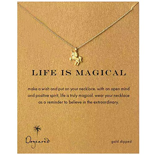 Heyuni. Women Alloy Clavicle Pendant Chain Necklace Jewelry with Card,Gold