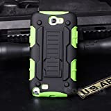 Galaxy Note 2 Case, Cocomii® [HEAVY DUTY] Galaxy Note II Robot Case **NEW** [ULTRA FUTURE ARMOR] Premium Belt Clip Holster Kickstand Bumper Case [MILITARY DEFENDER] Full-body Rugged Dual Layer Hybrid Protective Cover Bumper Case [COCOMII WARRANTY] ::: The Ultimate Protection from Drops and Impacts for your Samsung Galaxy Note 2 N7100 (Black/Green) ::: ★★★★★