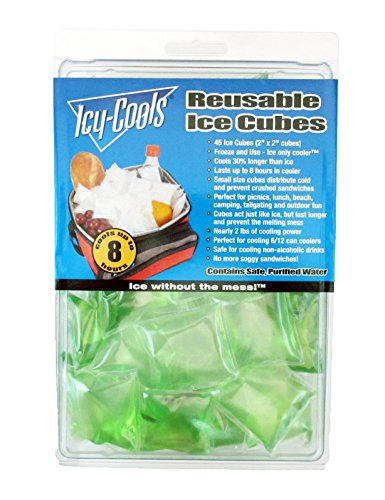 Icy Cools GREEN Reusable Ice Cubes for Coolers, Lunchboxes and More! -