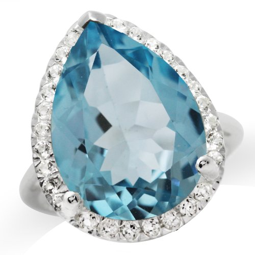 HUGE 14.72ct. 18x13MM Genuine Pear Shape Blue & White Topaz 925 Sterling Silver Cocktail Ring Size 9