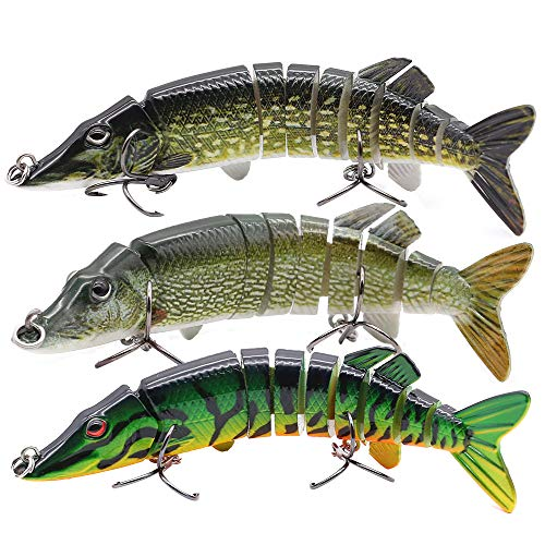 XFISHMAN Bass Fishing Lures 5' 3D Multi Jointed Swimbaits Lures for Northern Pike Lake Trout Fishing Tackle (2-Multi Jointed Pike Swimbaits Kit 3 Piece)