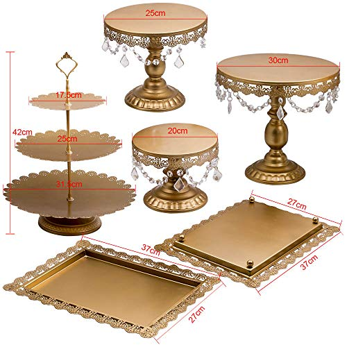 6Pcs Golden Metal Crystal Cake Holder Cupcake Stand Wedding Party Display