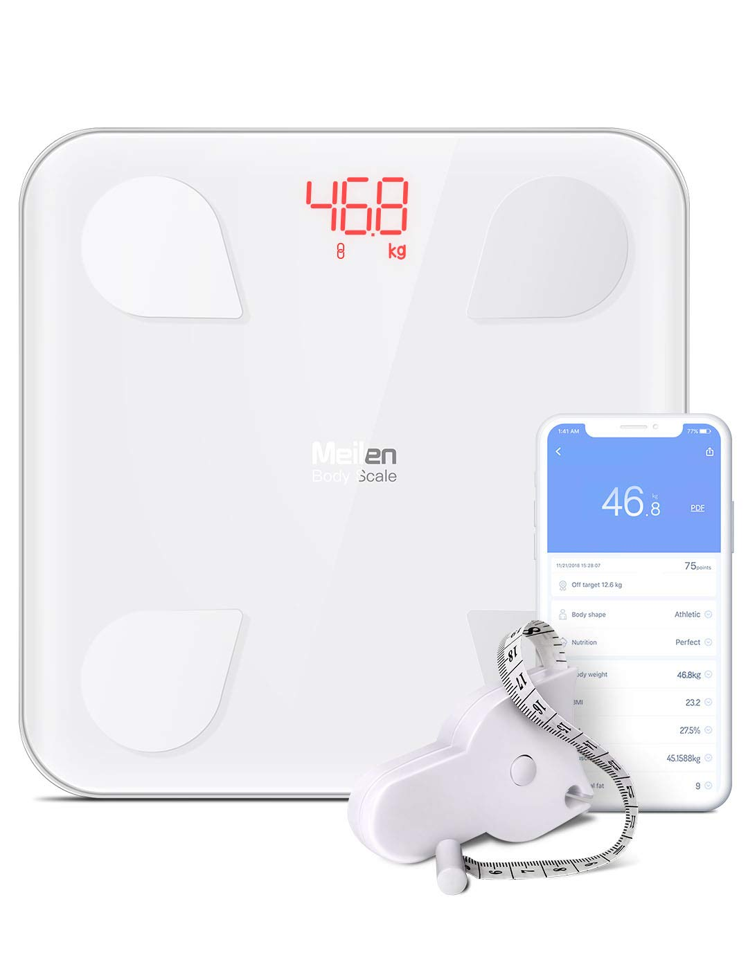Bluetooth Body Fat Scale - Smart Digital Weight Scale with Free iOS, Android APP, Unlimited Users, Auto Recognition Body Composition Analyzer for Fat, BMI, BMR, Muscle Mass.lbs/kg (White)