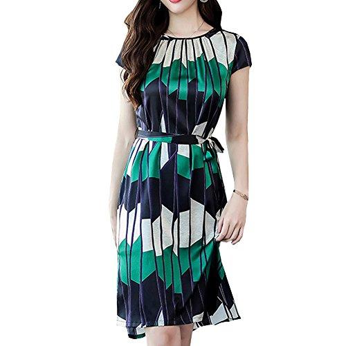 Grün Seide Abendkleid DISSA Kleider Cocktail Midi Übergröße Kleid Tierdruck S8817 Damen wq74U