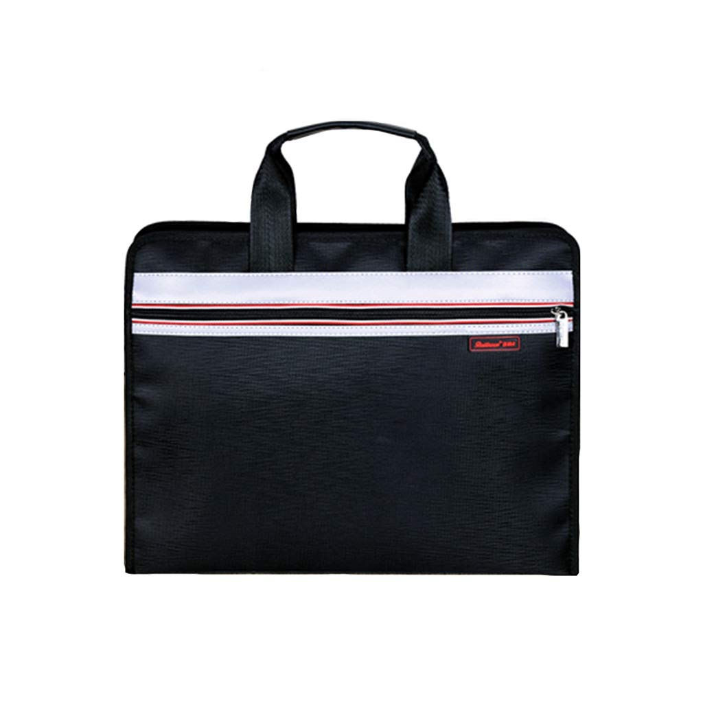 Multi-Layer File Bag Canvas Zipper Large Capacity Classification Vertical Multi-Function Portable Briefcase (Color : B, Size : 38x30x7cm) by QSJY File Cabinets