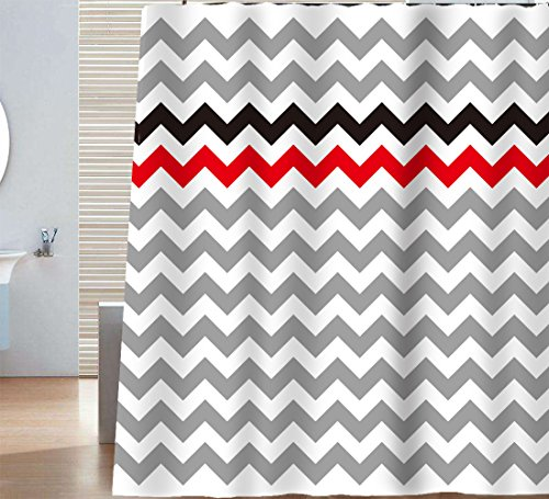 red black white shower curtain - 4