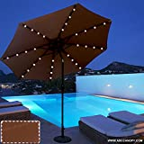 ABCCANOPY 9 FT Solar Powered Patio Umbrella 32LED Lights Solar Umbrella with Tilt and Crank,Coffee