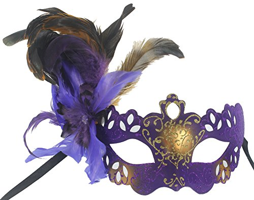 RedSkyTrader Womens Feathered Venetian Costume Mask One Size Fits Most Purple (Feathered Masquerade Mask)