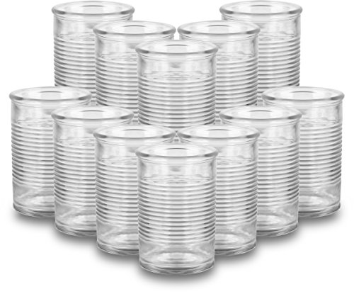 Circleware 08960 Huge Set of 12 Mason Jars in Fun Can Shaped Glasses, Home and Kitchen Farmhouse Glassware Décor Drink Tumblers for Water, Beer, Whiskey and Cold Beverages, 16 oz, Funny Can-12pc by Circleware