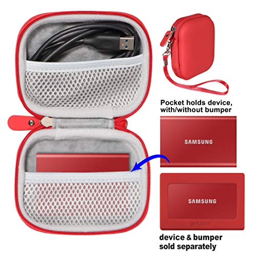 getgear Protective Case for Samsung T7, T7 Touch Portable SSD - 1TB, 2TB, 500GB, USB 3.2, Mesh Pocket for T7, spearate mesh Pocket to Hold Another T7 or Upto Two Cords, Wrist Strap (Red case)