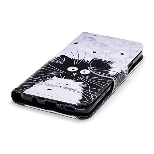Artfeel Samsung Galaxy S9 Plus Hülle Flip Brieftasche,Premium PU Ledertasche mit Kredit kartenfach,Mode Bunte Muster Design Buch Hülle mit Ständer Magnetverschluss und Geldbörse Slim Fit Innere Weiche Schwarz weiße Katze