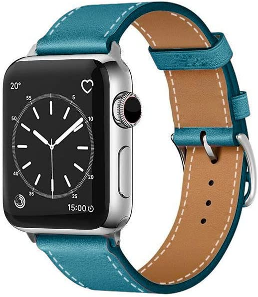 SUPSUN Compatible for Iwatch Band, 38mm/40mm 42mm/44mm, Genuine Leather Replacement Band Compatible with Iwatch Series 4/3/2/1 (Blue, 42mm/44mm)