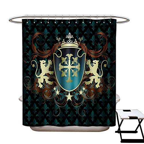 Medieval Shower Curtains Waterproof Heraldic Design of a Middle Ages Coat of Arms Cross Crown Lions Swirls Fabric Bathroom Decor Set with Hooks W69 x L75 Teal Black - Iridescent Taffeta Coat