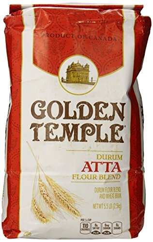 Golden Temple Durum Whole Wheat Atta Flour, 5.5 Pound -