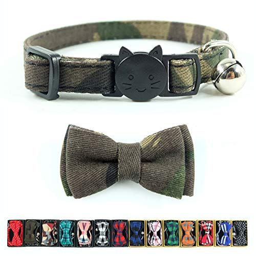Pipidog Cat Collar Bowtie with Bell, Quick Release Buckle Safety and Durable Kitties Kittens Cats Breakaway Collar(6.8-10.8in) (Camouflage 2)