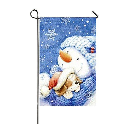Rossne G sun Winter Warm Dog Sleeping In The Snowman's Hug Garden Flag House Flag Decoration Double Sided Flag 12.5