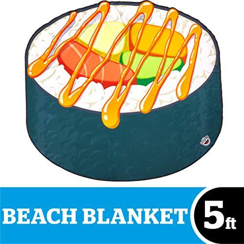 - BigMouth Inc Giant Sushi Roll Beach Blanket, Oversized Beach Towel, Ulta-Soft Microfiber Towel, 5 Feet Wide, Washing Machine Friendly