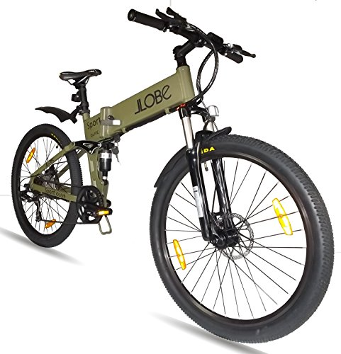 LLobe Erwachsene 26 Zoll Alu Falt Mountain E-bike Sport, Olivegrün, One Size, 130749