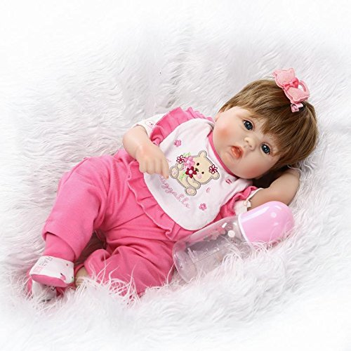 Pinky 2017 New 42cm 17 Inch Lovely Realistic Looking Reborn Dolls Toddler Soft Silicone Lifelike Baby Girl that Look Real Magnet Pacifier Xmas gifts