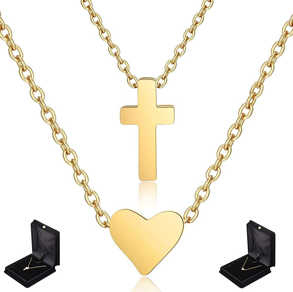 ALODUKI Girls and Ladys Gold Plated Stainless Steel Heart and Cross Necklace