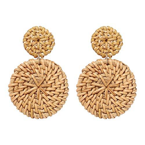 Bohemian Beach Handmade Rattan Woven Dual Round Drop Women Stud Earrings Jewelry Coffee ()
